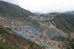 Namche Bazaar (Lenny K Photography) Tags: everest base camp trek mountain ebc sagarmatha national park nepal trekking walking sky cloud sony a7 2870mm hardship mountainside mountains rocky greenery green landscape scenic things backpacking travelling travel khumbu hiking hike multi day river valley mount trees canyon vegetation bush wide angle namche bazaar altitude