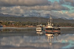 safe harbour (taszee63) Tags: tasmania strahan macquarie harbour trawler boats water hdr 3xp clouds
