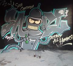 GRAFFITI BENDER FUTURAMA SABLE ON (Sable one) Tags: graffiti sable bender futurama wall destroythehumans graffitimexico graffitiletters sabl sablemexico