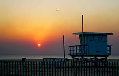 Smoky Sunset (Greg Adams Photography) Tags: fire venicebeach la losangeles venturafire sunset lifeguardstation fence sun smoke gold yellow bird travel hhsc2000 2017 winter orange golden southerncalifornia california calif ca soca dusk pacific ocean water sky