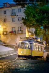 Late night tramway (Frank Boston Photographie) Tags: late night scene sunrise sunset city urban tram tramway retro vintage tourism europe uphill lisbon portugal transport traditional old cable travel typical rail classic downtown historic oldfashion public transportation picturesque dusk headlight lamplight cobblestone summer