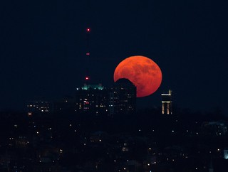 Super Moon Rising Over Cincinnati