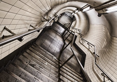 Topsy-turvy (Joseph Pearson Images) Tags: underground tube metro embankment steps stairs tunnel subway london