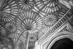 oxford circles (khrawlings) Tags: christ church college oxford university staircase hall pillar curves stonework arch ceiling bw monochrome blackandwhite