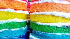 Rainbow in preparation (Luc1659) Tags: colors cake yellow green orange blue rainbow