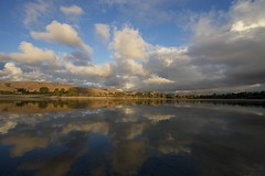 Cloudy evening at Quarry Lakes (gsmper) Tags: landscape clouds sky sunlight water mirror reflections nature park fremont california sony zeiss ha t