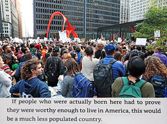 The Sun is Also a Star (kirstiecat) Tags: thesunisalsoastar nicolayoon protest daca dreamers picasso federalplaza picassostatue chicago downtown people strangers americans novel read book literature resist impeachtrump thisiswhatdemocracylookslike noracistusa immigrantsarewelcomehere protestingispatriotic resistfascism politics liberal quote