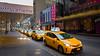 New York cabs (sigi-sunshine) Tags: newyork taxi taxicabs cab cabs taxicab yellow gelb traffic verkehr bigapple amerika america usa marquistheatre wonka bond45 46thstreet