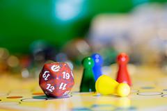 Game over (Raffaella T.) Tags: macro macromondays members choise colors yellow green red blue bokeh light indoor home game dice gameorgamepieces