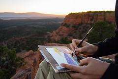 BRUSH (Kaiserjp) Tags: painting watercolor outdoor mountain mesa doemesa sedona arizona sunset paintbrush cliff redrock dusk az hiking hike evening art artistic plenair paint