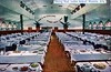 Dining Hall Indian School Phoenix AZ (Edge and corner wear) Tags: vintage postcard pc dining room food service indian school cafeteria restaurant phoenix az arizona plates place settings tables stools