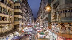 Mongkok Market at night (Philipp Salveter) Tags: hongkong city mongkok asia market night evening lights buildings alley