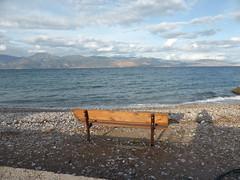 P1030599 (amalia_mar) Tags: landscape sea sky clouds autumn aigioachaiagreece blue bench 7dwf