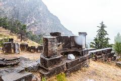 Delphi (CaptSpaulding) Tags: greece delphi old ancient historic building buildings statue stairs rain sky canon color contrast clouds closeup athens bank treasury grass mountain tree