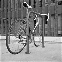 bike (macfred64) Tags: film analog mediumformat 120 6x6 square bw blackandwhite rolleiflex35f planar75mmf35 ilfordxp2super bicycle racebike germany dortmund