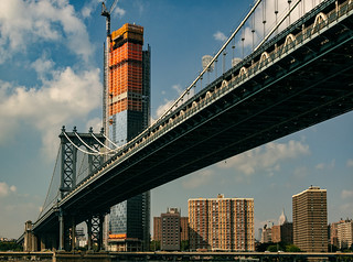 Manhattan Bridge and Tower Construction