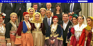Greece, Athens, Obama & Tsipras with girls in traditional costumes of Macedonia, Thrace, Epirus, Thessaly & the Islands