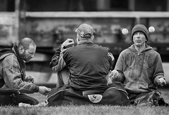 Tennis Ball Meditation (Ian Sane) Tags: ian sane images tennisballmeditation man tennis balls juggling men cigarette governor tom mccall waterfront park portland oregon black white candid street photography canon eos 7d camera ef100400mm f4556l is usm lens
