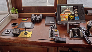 A detailed look at the 'dashboard' on the bridge on board the commuter boat Gurli in Stockholm