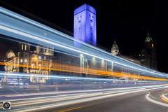 Liverpool, It`s all a front. (alundisleyimages@gmail.com) Tags: liverpool city northwestengland night longexposure lighttrails architecture worldheratigesite traffic roads clocks liverbirds liverbuilding portofliverpoolbuilding nightlights bus towncenters