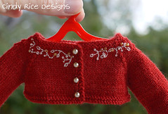 """Miss Cookie Elf"" made for the Little Darlings. (Cindy Rice Designs) Tags: embroidery sweater cardigan knit littledarlings effner doll dress christmas santa hat"