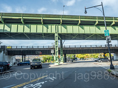 Henry Hudson Parkway Bridge (southbound) and Amtrak Railroad Bridge over Dyckman Street, Inwood, New York City (jag9889) Tags: 2017 20171103 amtrak auto automobile bridge bridges bruecke brücke car crossing dyckmanstreet eisenbahnbrücke henryhudsonparkway infrastructure inwood inwoodite jandyckman lamppost manhattan ny nyc newyork newyorkcity outdoor pont ponte puente punt railroadbridge road sign sky span structure transportation usa unitedstates unitedstatesofamerica uppermanhattan vehicle w200st wahi west200thstreet jag9889