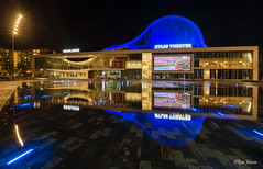 Atlas theather, Emmen (Rene Mensen) Tags: panorama emmen rene mensen nikon nikkor thenetherlands light long exposure square theather 3 reflection building architecture city