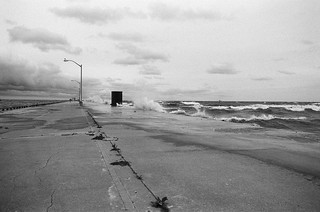Windy day on the pier