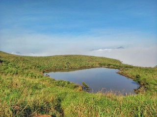 Love in the air, heart lake on top of chembra hills, wayanad