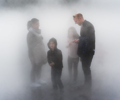 Where to Next? (jonron239) Tags: man woman boy girl smiles smartphone fog mist fujikonakaya tatemodern