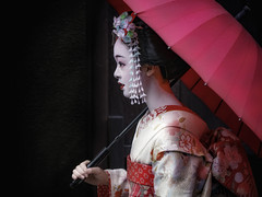 Profile (karinavera) Tags: city night photography cityscape urban ilcea7m2 japan profile street kimono portrait geisha girl kyoto people