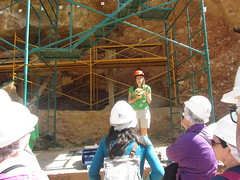 Our guide explaining a skull, Atapuerca (d.kevan) Tags: spain burgos atapuerca guides skulls scaffolding paleontologicalsite excavations stairs visitors