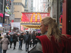 Wax Thor on 42nd St sidewalk 2017 NYC 3522 (Brechtbug) Tags: wax thor 42nd st sidewalk 2017 nyc marvel comics waxworks display outside madame tussauds forty second street midtown manhattan museum 11082017 new york city viking norse god lightning hammer mjölnir mjolnir november royal uk england brit britain british tussaud s mannequin mannequins dummies dummy chris hemsworth