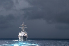 Kidd's Clouds, variant (sjrankin) Tags: nimitzcarrierstrikegroup usskidd transit southchinasea storm clouds 9november2017 edited usn unitedstatesnavy ship ddg100 171105nvr5940254