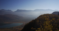 Autumn in South Tyrol (chribs) Tags: herbst see berge landschaft autumn mountains lake landscape colors fog blue dunst südtirol south tyrol