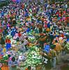 Vegetables galore (Lewitus) Tags: pisac cuzco colors market food 1978 hats