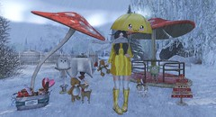 #198 When life gives you rainy days, wear cute boots and jump in the puddles (Saar Whitfield) Tags: secondlife avatar virtual theimaginarium gimmegacha mello luas madpea velvetwhip beedesigns {yd} deciduous winter rain cute gacha kawaii photography blogger