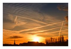 Dawn Lines (Myrialejean) Tags: dawn skies daybreak sunrise sun sky blue orange golden vapourtrails planes glow grantham d7200 nikon silhouette church bright winter