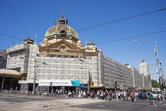 Restoration works on Flinders Street Station, Melbourne (Kokkai Ng) Tags: flinders street station melbourne victoria train blue sky day city cbd australia landmark scaffold restoration restore scaffolding