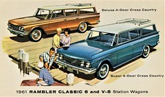 1961 Rambler Classic Deluxe & Super Station Wagons (aldenjewell) Tags: 1961 rambler classic 6 v8 deluxe super 4door cross country station wagons postcard