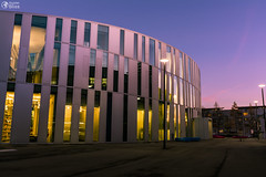 Library Exterior at Hochschule der Medien Media University in Stuttgart, Germany During Sunset (HunterBliss) Tags: 2017 badenwuerttemberg center children classroom college computer concept design development editorial education entrance europe film germany hdm hochschule hochschuledermedien internet kids knowledge learning library media november online people print school social space students study studying stuttgart sunset teacher technical technology university