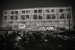 Urban playground..... (Dafydd Penguin) Tags: industrial abandoned building factory unloved urban playground waste site industry blackandwhite blackwhite black white bw monochrome architecture city barcelona catalunya catalonia spain europe nikon df nikkor 20mm af f28