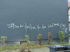 Der Trottel von der 1. Wand (mkorsakov) Tags: dortmund nordstadt hafen graffiti piece wand wall tagging parole slogan grau grey trottel