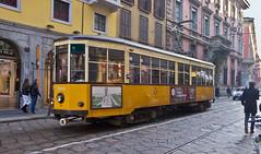 Nostalgisch / Nostalgic (schreibtnix on 'n off) Tags: reisen travelling italien italy mailand milan strase street pflaster plaster schienen rails strasenbahn tram gelb yellow oldtimer nostalgisch nostalgic olympuse5 schreibtnix