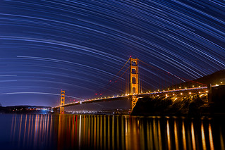 Star trails over the Golden Gate