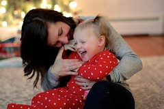 Laughing with Mom (dangaken) Tags: amelia baby toddler birthdayparty twoyearold 2yo 2ndbirthdayparty party blonde pigtails elmo christmas holiday holidayseason merrychristmas birthdaycake cake pinkfrosting pink mother daughter motheranddaughter momanddaughter kid mom momandkid girl