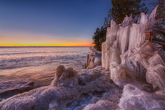 Wintery Travel Plans (supra455) Tags: cave cavewinter cold county ice lake michigan park point sunrise water waves web wisconsin sturgeonbay unitedstates us