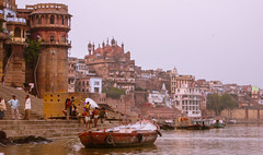ganga river (paologmb) Tags: burningghat tradition smoke street individuals mourning perspective ganga holy man urban soul travel varanasi india spiritual wood spirit death creepy fire boat river