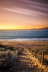 A Vibrant Sunset (rohitsanu1) Tags: vibrant sunset beautiful sky sea land beach edited nature warm california ca canon5dmarkii canon24105mmf4l canon24105f4l vignette marine horizon shadows ocean clear landscape vertical shot gorgeous path sand