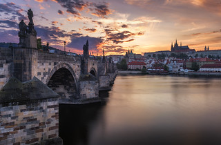 Summer sunset over the old town of Prague